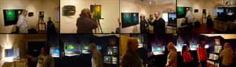 Collage of pictures from present holographic exhibition at Visual Alchemy installed by Al Razutis